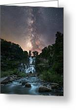 Waterfall Milky Way  Greeting Card