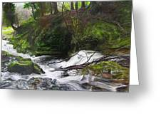 Waterfall Near Tallybont-on-usk Wales Greeting Card