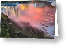 Waterfall Night Lights Greeting Card