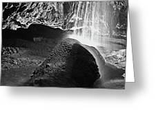 Waterfall Of The Caverns Black And White Greeting Card