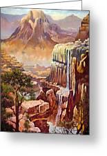 Waterfall Rocks And Sun Greeting Card