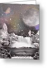 Waterfalls At Night Greeting Card
