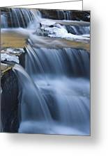 Waterfalls In Blue And Gold Greeting Card