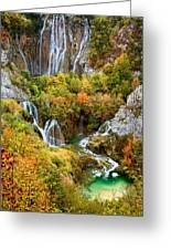 Waterfalls In Plitvice Lakes National Park Greeting Card