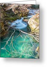 Waterfalls In The Nature Reserve Urederra Greeting Card