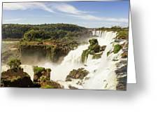 Waterfalls On Iguazu River Greeting Card