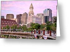 Waterfront Park Pink Greeting Card by Susan Cole Kelly