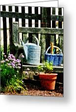 Watering Can And Blue Basket Greeting Card
