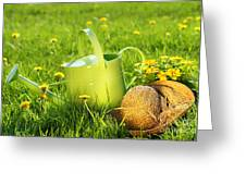 Watering Can In The Grass Greeting Card by Sandra Cunningham