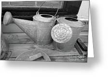 Watering Cans And Tubs B  W Greeting Card
