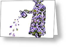 Watering Flowers Greeting Card