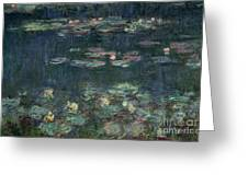 Waterlilies Green Reflections Greeting Card