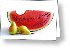 Watermelon And Pears Greeting Card