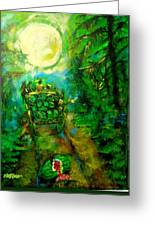 Watermelon Wagon Moon Greeting Card