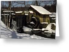Waterwheel With Snow Greeting Card