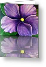 Watery African Violet Reflection Greeting Card