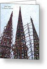 Watts Towers 2 - Los Angeles Greeting Card