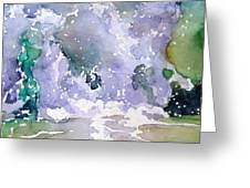 Wave Breaking Into Green Greeting Card