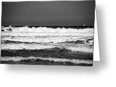 Waves 1 In Bw Greeting Card