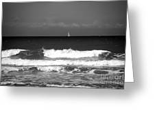 Waves 4 In Bw Greeting Card