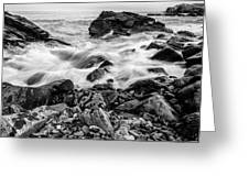 Waves Against A Rocky Shore In Bw Greeting Card by Doug Camara