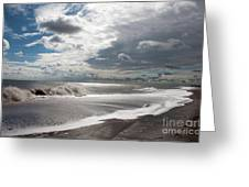 Waves Breaking Against The Beach And Cloud Streaming Above  Skegness Lincolnshire England Greeting Card
