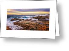 Waves Breaking Up On Rocks In Sydney Australia Greeting Card