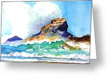 Waves Bursting On Rocks Greeting Card