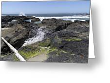 Waves Crash Ashore On A Lava Bed Greeting Card