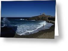 Waves Crash Onto The Beach Greeting Card