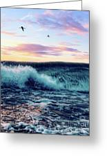 Waves Crashing At Sunset Greeting Card
