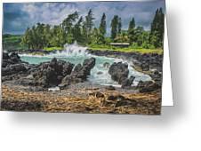 Waves Crashing Kawee Point Greeting Card