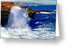 Waves Crashing On The Rocks Greeting Card