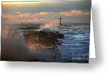 Waves Crashing Over The Jetty Greeting Card