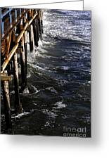 Waves Hitting Santa Monica Pier Greeting Card