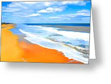 Waves Lapping On Beach 8 Greeting Card