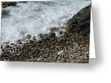Waves Meet Pebbles Greeting Card