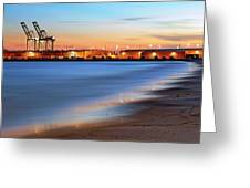 Waves Of Industry - Gulfport Mississippi - Sunset Greeting Card