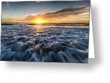 Waves Of The Sunset Greeting Card