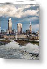 Waves On Cleveland Greeting Card