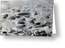 Waves On Cobble-panoramic Greeting Card