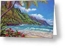 Waves On Na Pali Shore Greeting Card