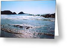 Waves On The Mid Beach Rocks At Zipolite  Greeting Card