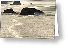 Waves Roll Ashore On The Oregon Coast Greeting Card
