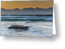 Waves Rolling In At Sunrise Greeting Card