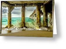 Waves Smash Into The Pier Greeting Card