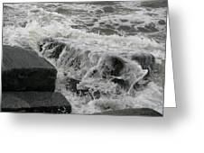 Waves Splashing Stones 2 Greeting Card
