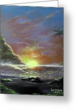 Waves Through The Sunset Greeting Card