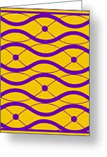 Waves With Border In Mustard Greeting Card