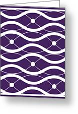 Waves With Border In Purple Greeting Card